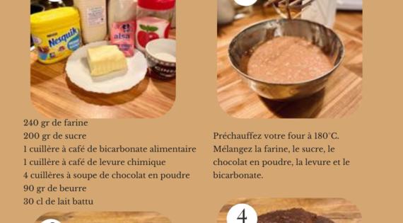Gateau au chocolat et lait battu