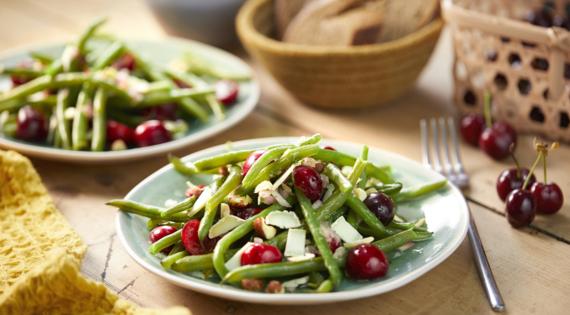 Recette Bienvenue à la ferme- Salade de haricots verts et cerises - produits de saison et locaux