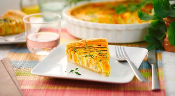 Recette Bienvenue à la ferme - tarte arc en ciel courgettes carottes - produits de saison et locaux